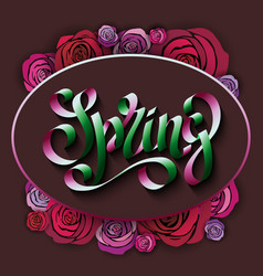Unique handwritten lettering spring on a black vector