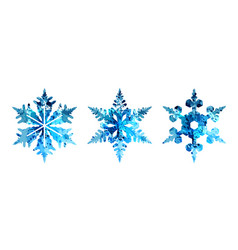 Watercolor silhouettes of snowflakes vector