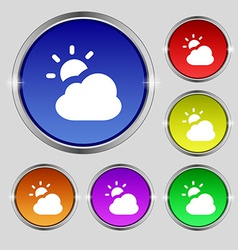 Weather icon sign Round symbol on bright colourful vector
