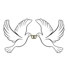 wedding two doves icon cartoon vector image vector image