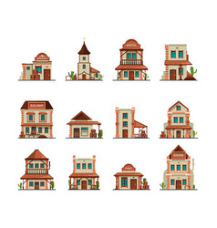 western constructions old wild west town store vector image