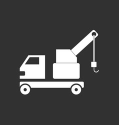 White icon on black background evacuator vector