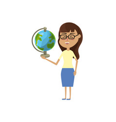woman teacher with school tool in the hand vector image