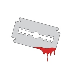 blade razor with flowing blood vector image