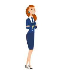 caucasian stewardess standing with folded arms vector image vector image