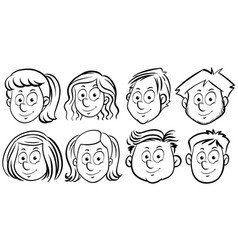 different faces of people vector image
