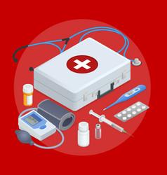 flat concept of mobile health online medical vector image
