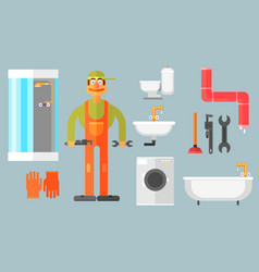 flat set with plumber tools for repair and vector image vector image