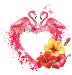 greeting card with flamingoes and flowers vector image vector image