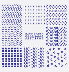 hand drawn seamless patterns vector image vector image