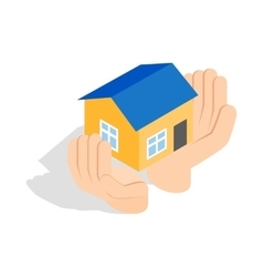 Hands holding a house icon isometric 3d style vector image vector image