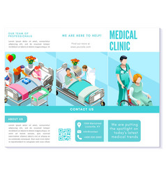 Trifold brochure medical clinic clean blue basic vector