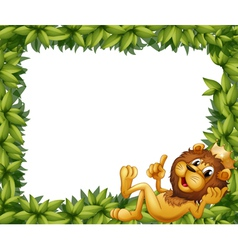 A lion with a crown in a leafy frame vector image vector image