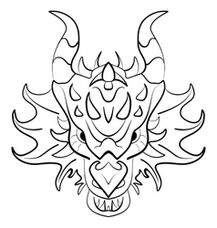 Black dragon tattoo design on white background vector image vector image