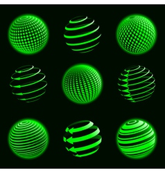 green planet icons vector image