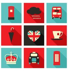 long shadow london icons set vector image