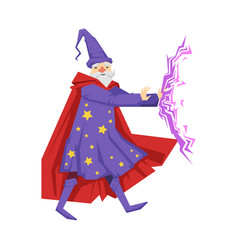magician in a purple robe in action colorful vector image