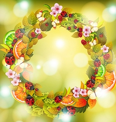 Autumn floral circle frame with ladybugs on green vector image