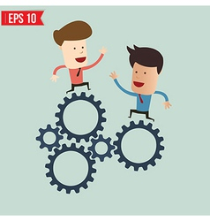 Businessman with gears - - EPS10 vector image vector image