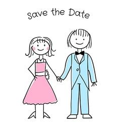 Cute cartoon wedding invitation template vector image