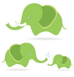 cute elephant family cartoon drawing thailand vector image