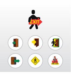flat icon exit set of entry entrance evacuation vector image vector image