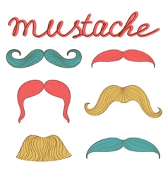 Stylish retro mustaches set vector image