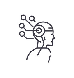 artificial intelligence head thinking concept vector image vector image