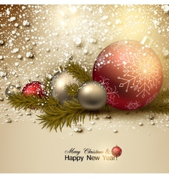 Beautiful Christmas background with red and golden vector image