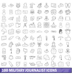 100 military journalist icons set outline style vector