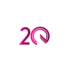 20 years anniversary celebration purple line vector