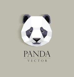 3d origami low polygon panda bear vector image