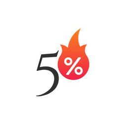 50 percent off with flame burning sticker vector image