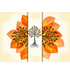 Abstract trees with golden leaves vector image