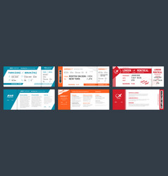 Airplane tickets airline ticket template with vector