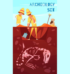 archeology excavation cartoon background vector image
