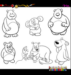 bear characters coloring page vector image