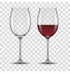 big reds wine glass empty and none vector image