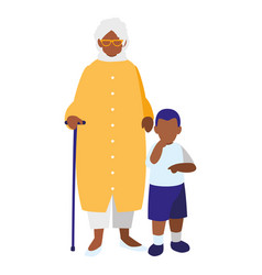 black grandmother with grandson vector image