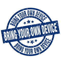 Bring your own device blue round grunge stamp vector