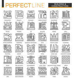 Building and construction outline mini concept vector