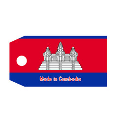 cambodia flag on price tag vector image