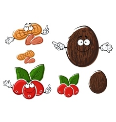 Cartoon coffee coconut and peanut characters vector