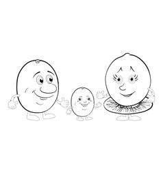Character kiwi fruit outline vector image