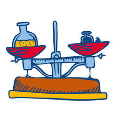 chemistry balance tool icon hand drawn style vector image