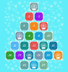 christmas advent calendar multi-colored windows vector image