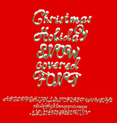 christmas snowy alphabet holiday font with snow vector image