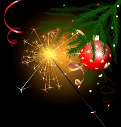 christmas tree and sparkler vector image