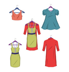 clothes on hangers women clothes in flat style vector image vector image
