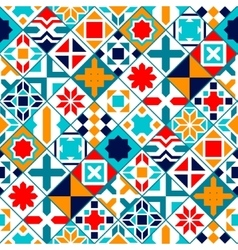 Colorful diagonal geometric tiles seamless pattern vector image